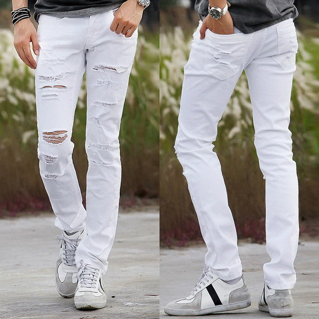 Fashion Skinny Hole White Ripped  Denim Jeans - Lance Donovan