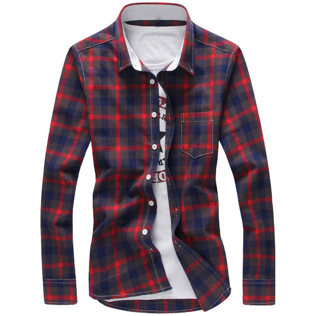HANQIU Plaid Men Checkered Shirt Button Down shirt
