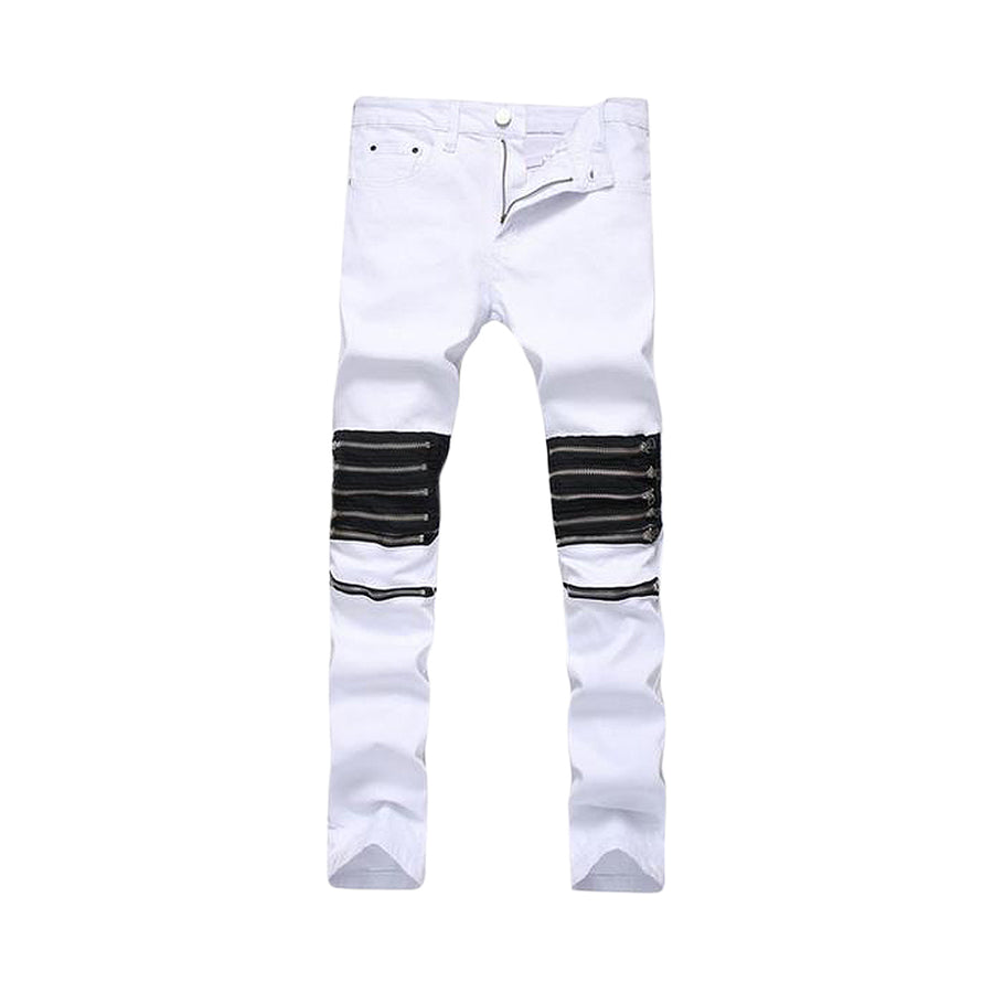 Male Club Jeans Red/White Knee Multi zipper Slim Jeans - BIE PA