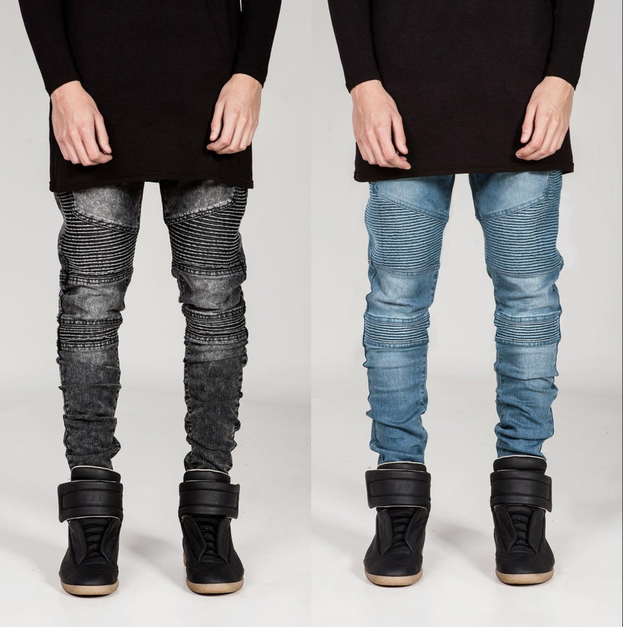 Ripped Rider Biker Jeans  / Motorcycle Slim Fit  Denim Pants - BIE PA