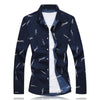 Slim Fit Print Long Sleeve Men's Shirt - Zhenzhou