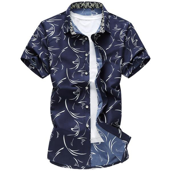 Floral Men's Shirts - Short Sleeve - Zhenzhou