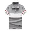 Qijue Mens 94% Cotton 6% Spandex Polo Shirts Striped