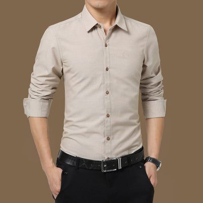 Qijue Long Sleeve Solid Casual Slim Fit Social Shirt