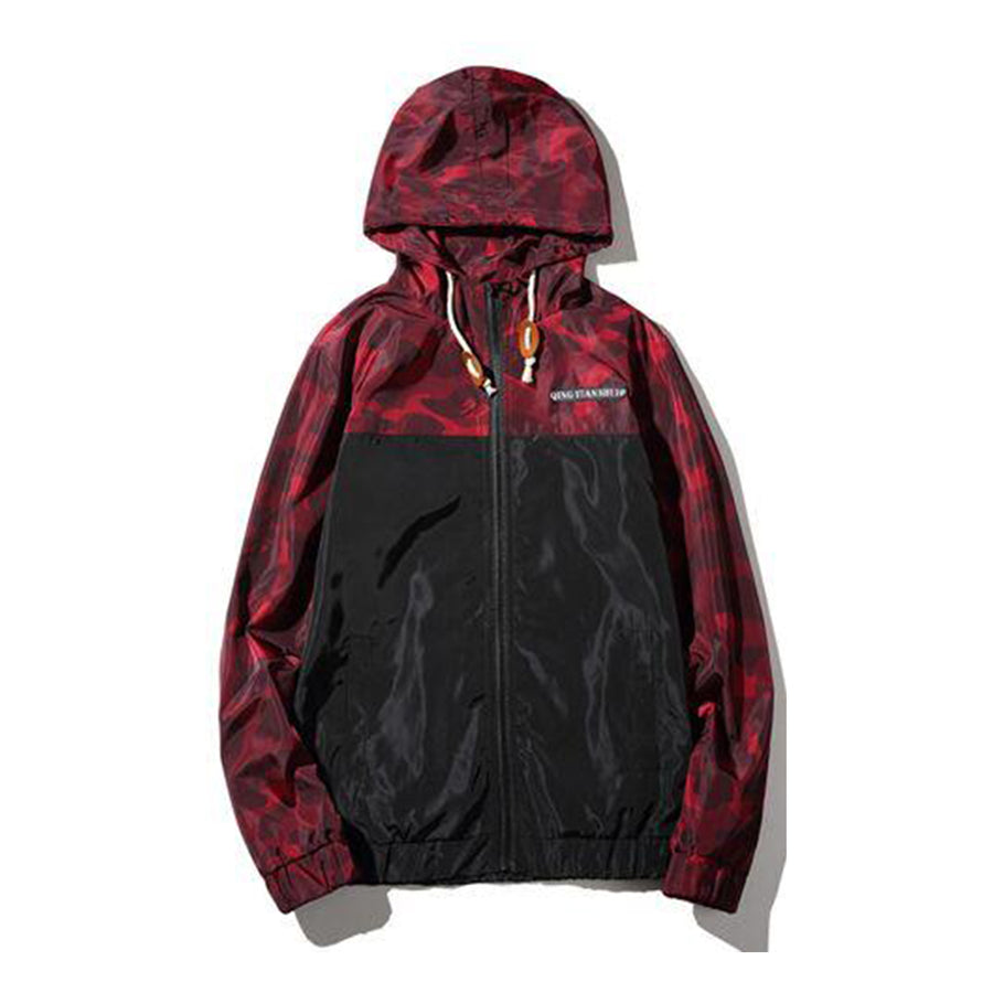 Qijue Hooded Floral Windbreaker Jacket