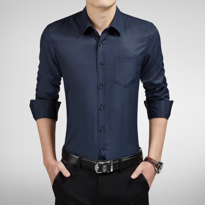 Solid Business Male Clothes Button Down Shirt- GOUHAI