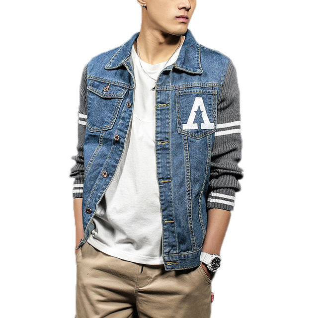 Qijue Spring Men Denim Jacket