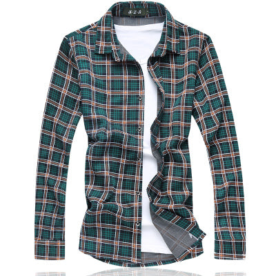Plaid Male Dress Shirts / Casual Long Sleeve Business Shirt - Zhenzhou