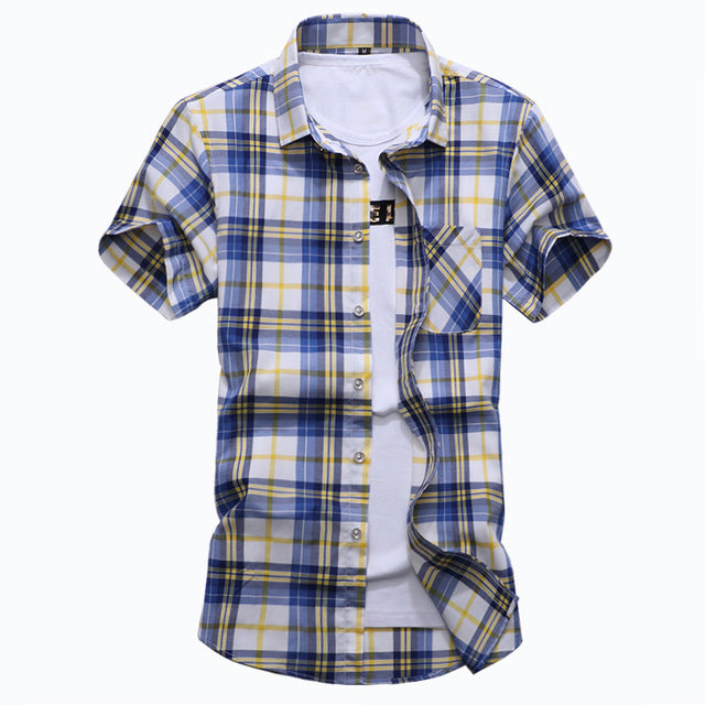 Plaid Mens Casual Shirt / Short Sleeve Shirt - ZhenZhou