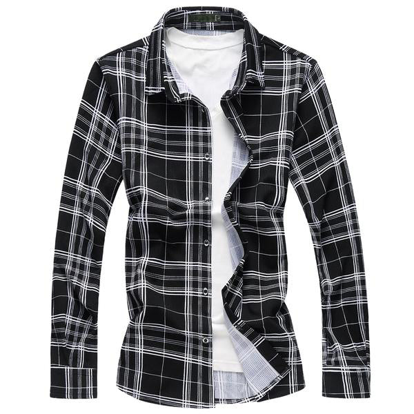 Casual Long Sleeve  plaid shirt - Zhenzhou