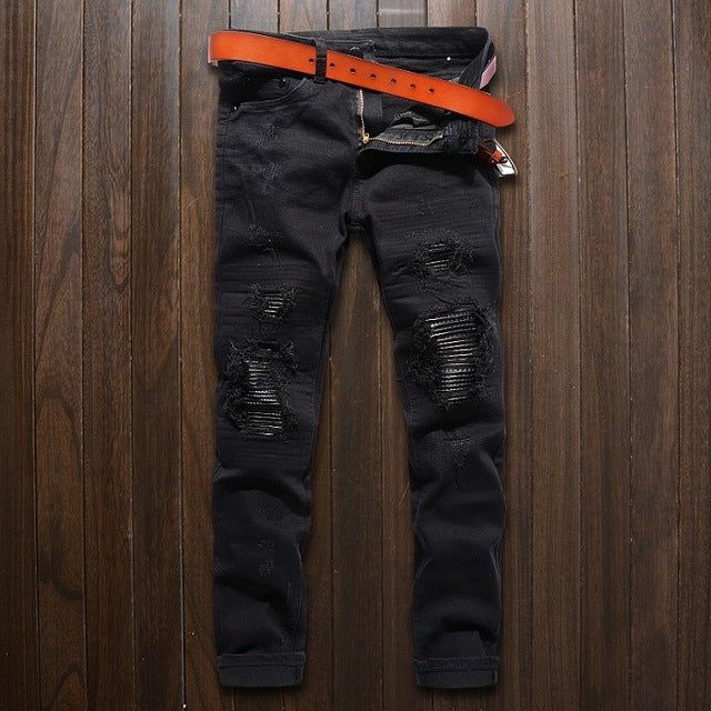 Ripped Skinny Biker Jeans  /  Slim Fit Denim Pencil Pants - BIE PA
