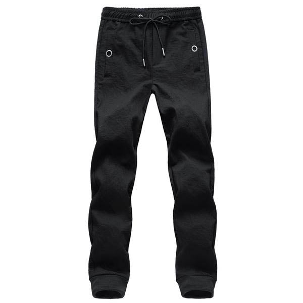 GOUHAI Men Cargo Pants / Casual Slim Fit Trousers /Sweatpants Drawstring Black
