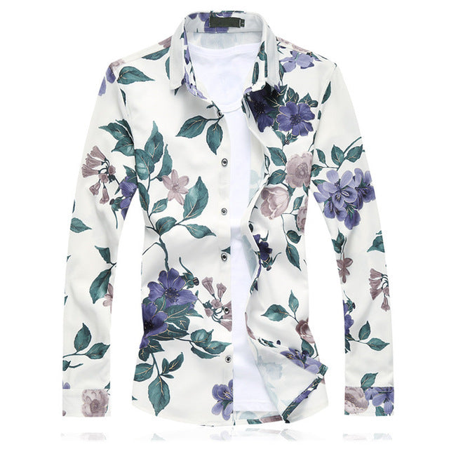 Men Fashion Casual Long Sleeve Floral Shirt - Qijue