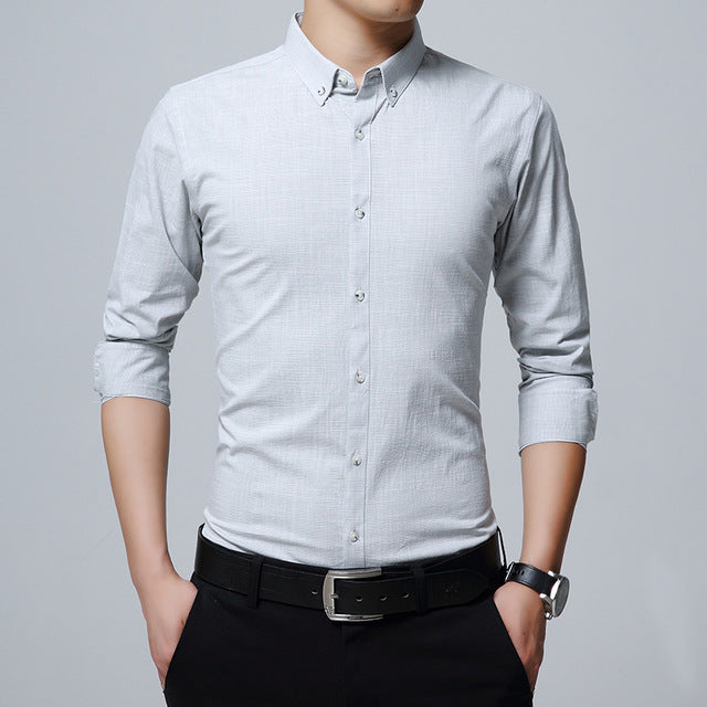 Mens Business Long Sleeve Casual Slim Fit Male Social Shirt- GOUHAI