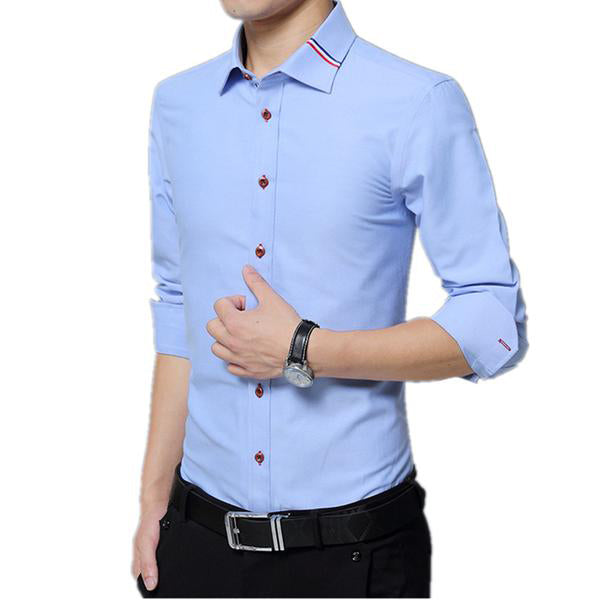 Qijue Business Solid Long Sleeve Shirt