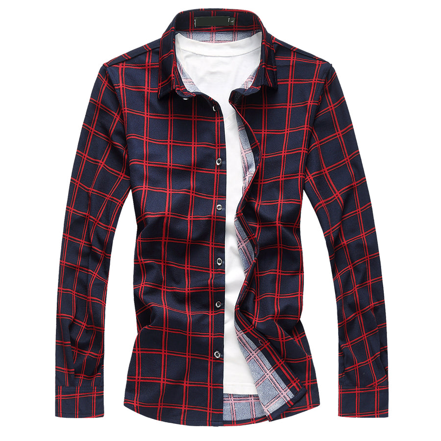 Qijue Business Long Sleeve Mens Casual Plaid Shirt