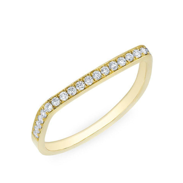 SQUARE BAND WITH PAVE' DIAMONDS RING