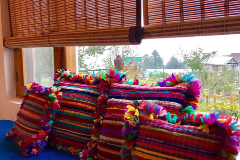 Beautiful color at Khanabadosh bnb with Crazy Daisy's Upcycled Cushions