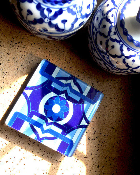 Symphony in Blue Coasters - set of 4 - CrazyDaisy