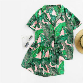 Sleepwear Tropical Lipstick Palm Leaf Print Short PJ Set