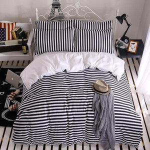 Quilt Cover Set 4PCE Microfibre Striped  -  BONUS BED SHEET - BEDROCKS