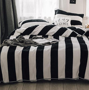 Quilt Cover Set Black Black White Stripes Straight 4PCE - BONUS TOP SHEET - BEDROCKS