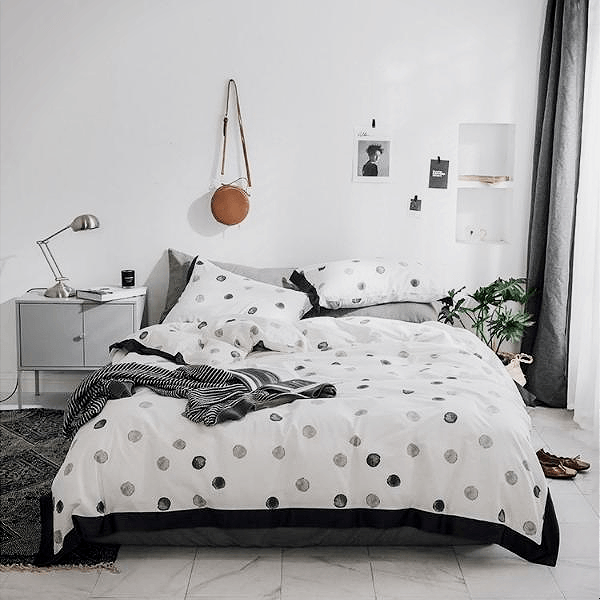 Quilt Cover Set Black & White Dots Piping 4PC - BONUS BED SHEET-BEDROCKS
