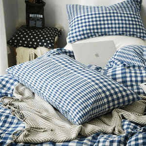 Quilt Cover Set GINGHAM Navy 4PCE Gingham Scatter - BONUS BED SHEET-BEDROCKS