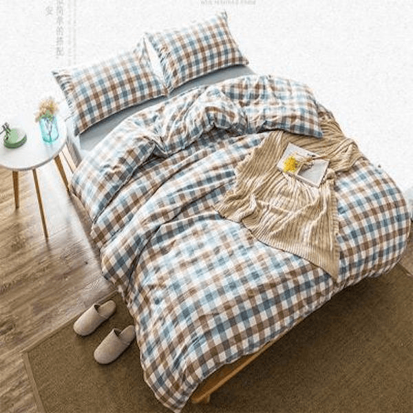 Quilt Cover Set Gingham Poly Duvet Cover 4PCE - BONUS BED SHEET - BEDROCKS