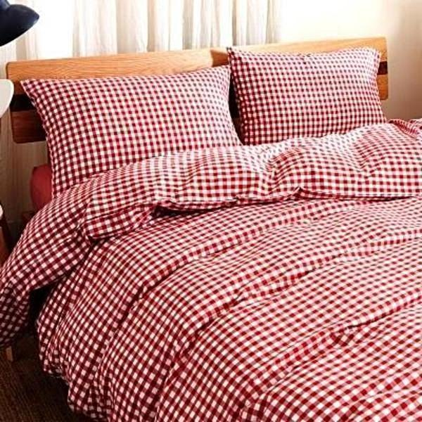 Quilt Cover Set GINGHAM Red Gingham 4pce - BONUS BED SHEET-BEDROCKS