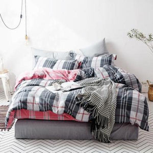 Quilt Cover Set Grey Powder Tartan Check 4PCE - BONUS BED SHEET-BEDROCKS