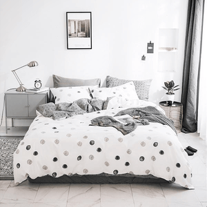 Quilt Cover Set Grey & White 4PCE Bohemian Dots - BONUS BED SHEET-BEDROCKS