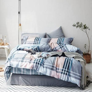 Quilt Cover Set Hagen Tartan Check 4PCE  -  BONUS BED SHEET - BEDROCKS