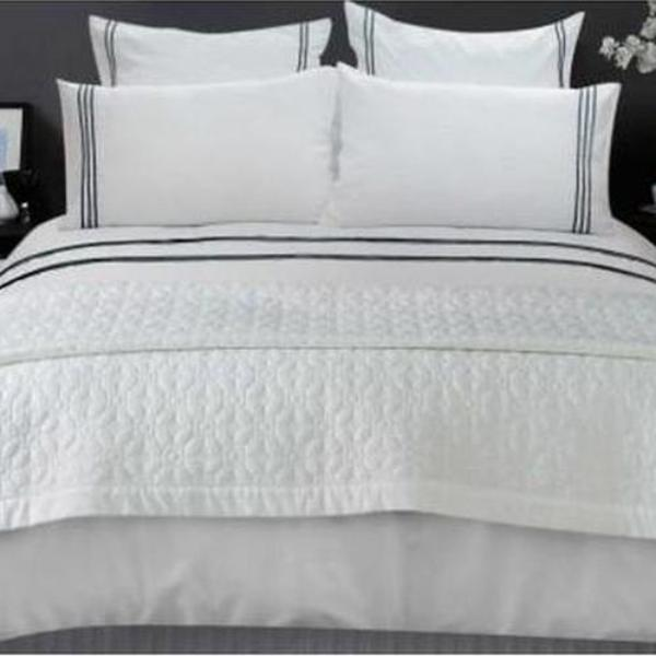 Quilt Cover Set  King Size Trim White Black stripes - AUS DESIGN - BEDROCKS