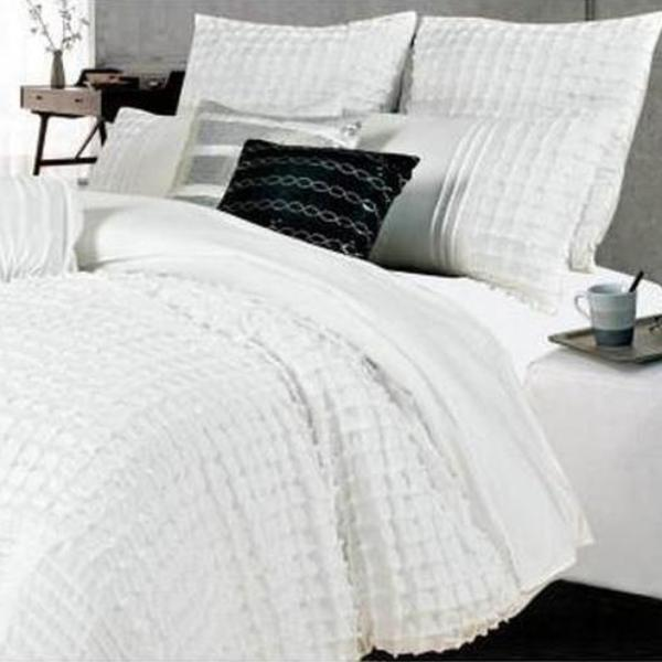 Quilt Cover Set  King Size White Cross Pintuck  (3PCS) - AUS DESIGN - BEDROCKS