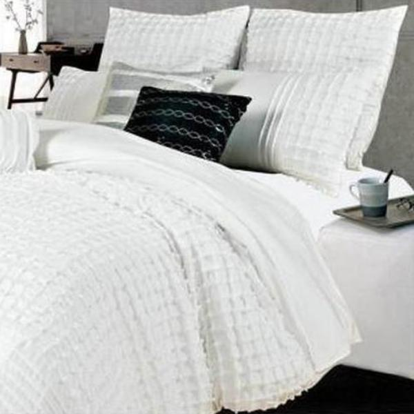 Quilt Cover Set King Size White Pintuck 3pcs Aus Design