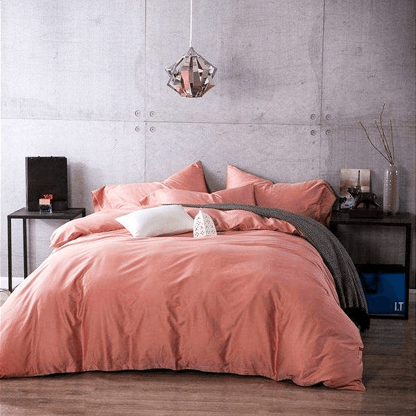 Quilt Cover Set Luxe Peach Bed Linen  4PCE Set -  BONUS BED SHEET - BEDROCKS