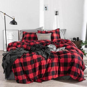 Quilt Cover Set Man Chester Check 4/7PCE Set - BONUS BED SHEET-BEDROCKS