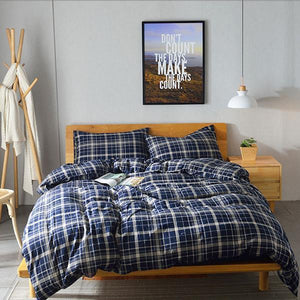 Quilt Cover Set Man Chester Check 4PCES - BONUS BED SHEET-BEDROCKS