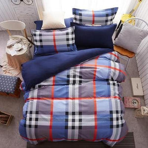 Quilt Cover Set Man Chester Plaid  Checks 4pce - BONUS BED SHEET - BEDROCKS