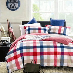 Quilt Cover Set Man Chester Red Checked 4pce - BONUS BED SHEET-BEDROCKS
