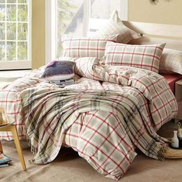 Quilt Cover Set Red 100% Cotton Checked 4pce - BONUS BED SHEET-BEDROCKS