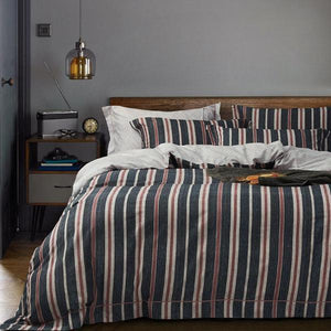 Quilt Cover Set Vintage Retro Stripe Cotton 4PCE BONUS BED SHEET-BEDROCKS