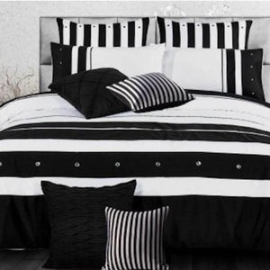 Super King Size Black White Striped Quilt Cover Set Pillowcases (3PCS) - BEDROCKS