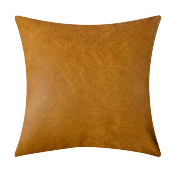 Throw Cushion Covers Tummeric Faux Leather Couch Cushions - BEDROCKS