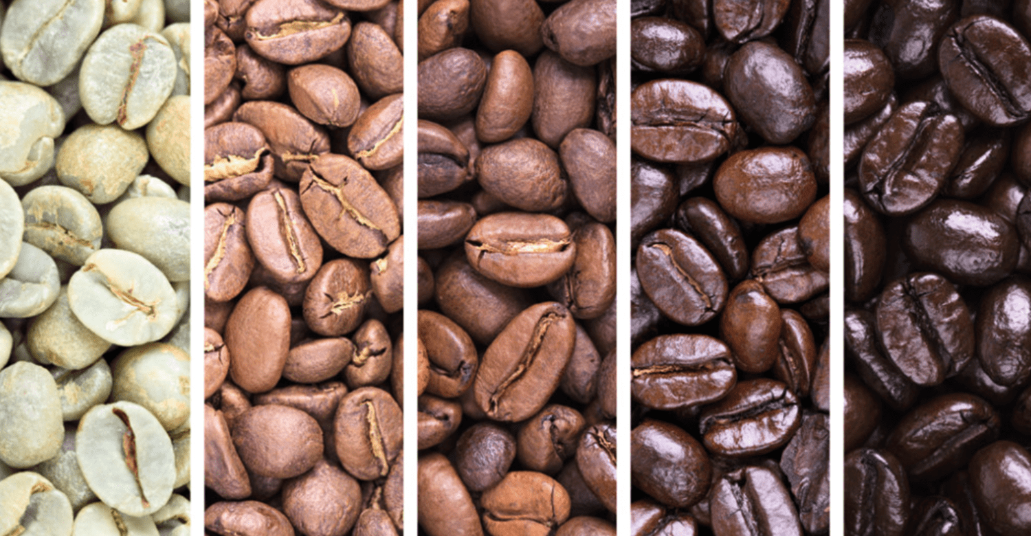 Grades of colouration on coffee beans