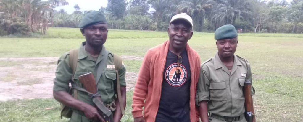 Adelard with two of the Virunga Rangers