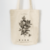 Back side CRU Kafe Tote Bag with illustration of a coffee tree