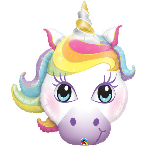36 inch pastel magical unicorn head foil balloon