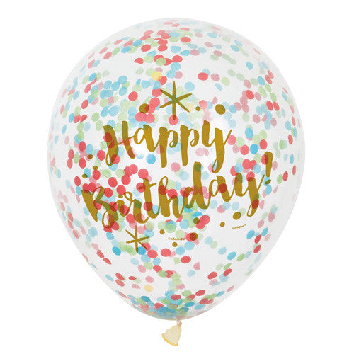 12 INCH CLEAR GOLD BIRTHDAY LATEX BALLOONS WITH CONFETTI PACK OF 6